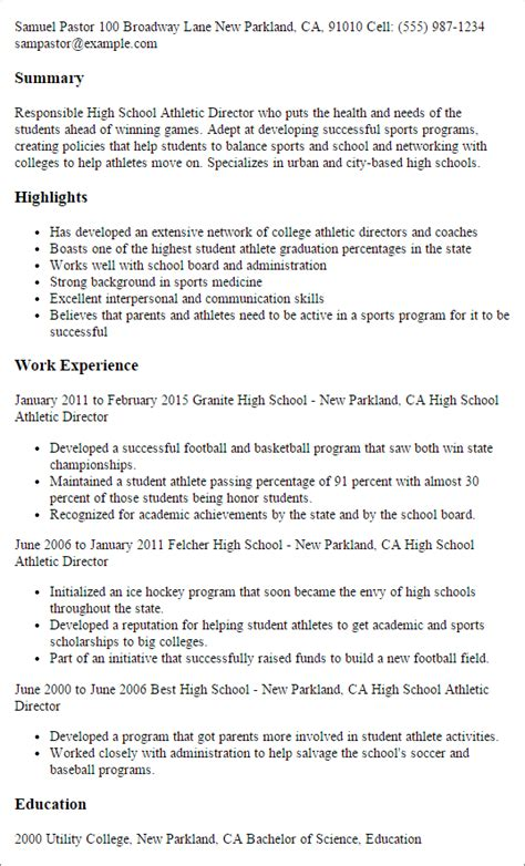 Athletic Director Resumeathletic Director Resume by Professional High School Athletic Director Templates To