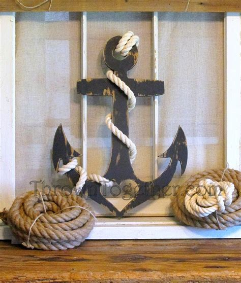 wood sailboat wall decor navy blue anchor with and rope nautical wall decor