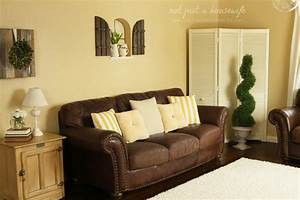 cheerful yellow family room the big reveal not With living room furniture with yellow walls