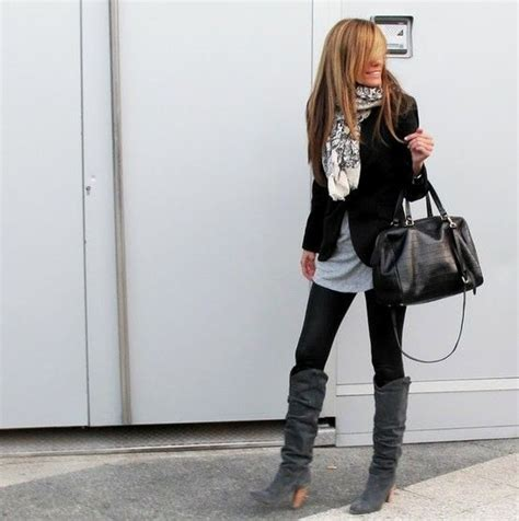 Black Leggings u0026 Boots | Outfits | Pinterest | Black blazers Grey and Blazers