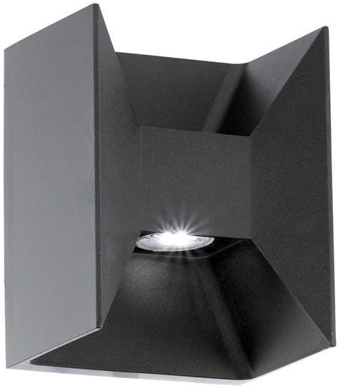 modern black outdoor led 2 l wall washer light 93319