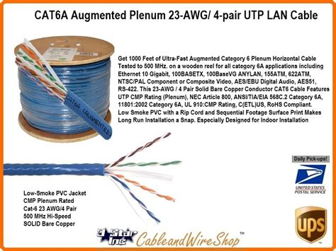 cata augmented plenum awg  pair utp networking cable  ft  star incorporated