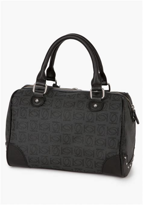 lyst bebe logo monogram boston bag  black