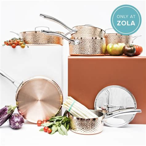 tri ply hammered copper  piece cookware set cookware set heating cooling kitchen essentials