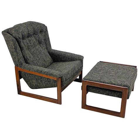mid century modern armchair lounge chair and ottoman by
