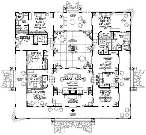 mediterranean home plans with courtyards mediterranean ranch southwest house plan 90269 the