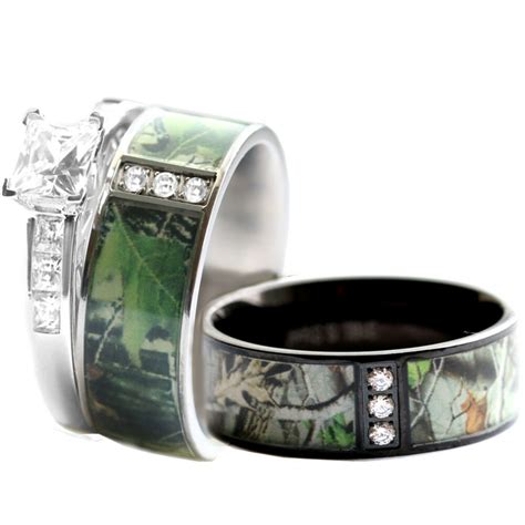 camo wedding ring sets his and hers his hers stainless steel camo 925 silver engagement wedding rings black ebay