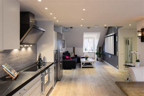 elegant small one bedroom modern attic apartment with exposed wood beams youtube