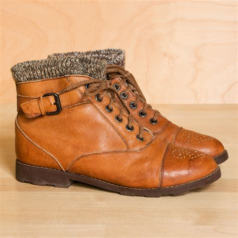ankle sweater boots ankle boots 6 5 5 vintage sweater cuff leather by