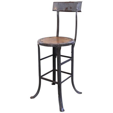 kitchen island stools with backs vintage industrial rustic wood and metal bar kitchen island stool with back for sale at 1stdibs