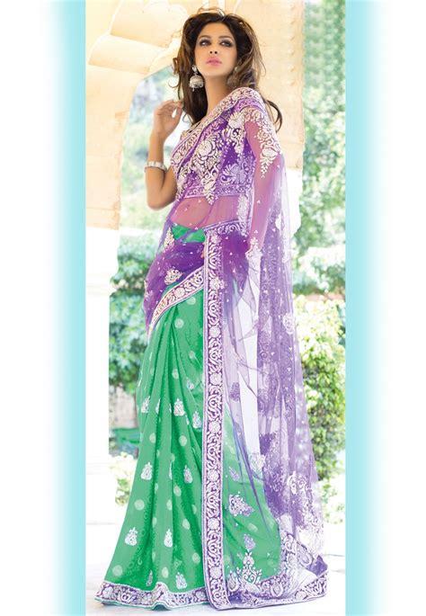 purple  green jacquard  net saree  blouse