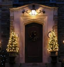 pre lit potted trees at your front door