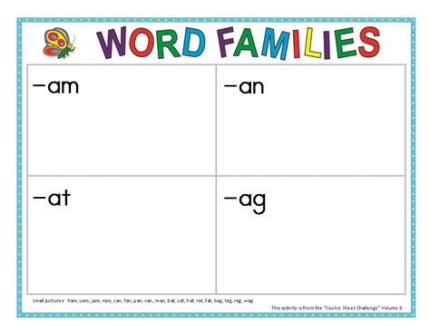 cookie sheet activities volume 6 word families make