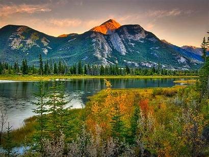 Landscape Mountains Canada Forest Rocky River Natural