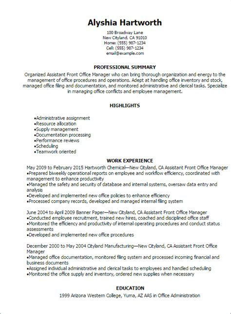 front desk security officer responsibilities 1 assistant front office manager resume templates try