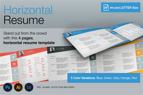 horizontal 4 pages resume resume templates on creative