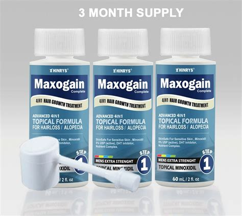 3 Month Mens Maxogain 4in1 Topical Minoxidil DHT Hair