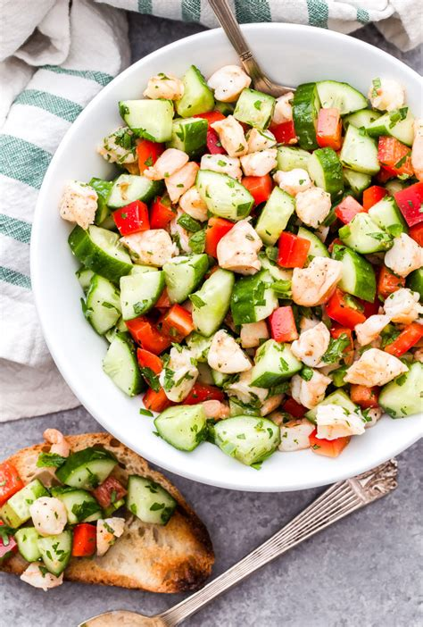 The dressing is a combination of mayonnaise, italian dressing, and parmesan cheese. Cucumber Shrimp Salad with Lemon and Herbs - Recipe Runner