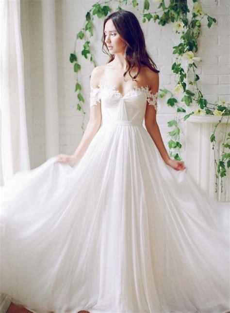 picture  flowy   shoulder wedding dress