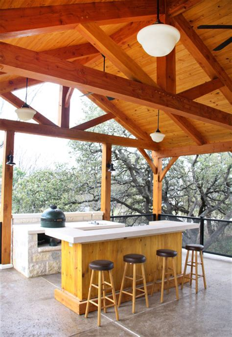 Timber Trusses in 2 Story Great Room   Traditional   Porch