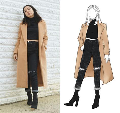 Yona L - Camel Coat Boohoo Knee Slit Jeans Boohoo Black Sock Boots - Minimal Edge | LOOKBOOK