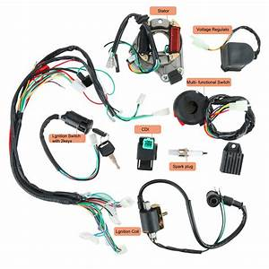 Yaegarden Complete Electrics Stator Coil Cdi Wiring Harness Kit Cdi Wire Assembly For 4 Stroke
