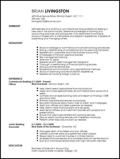 professional banking resume template resume