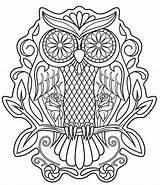 Skull Coloring Sugar Pages Sheet Owl Printable sketch template