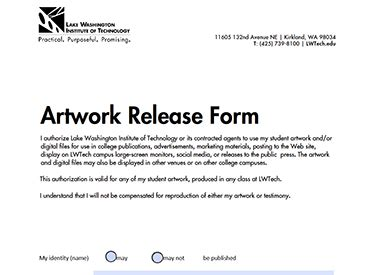 20245 artwork release form forms policies lake washington institute of technology