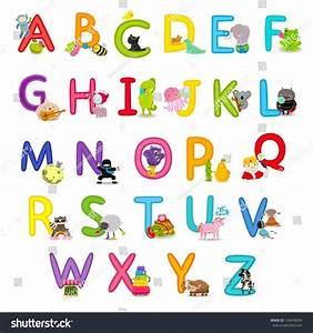 cute childrens english alphabet fun cartoon stock vector With children s alphabet letters