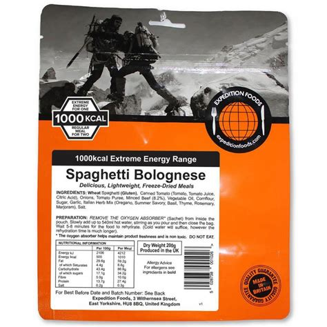 spaghetti bolognese kcal expedition food spaghetti bolognese freeze dried meal
