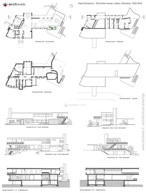 house plan com schminke house scharoun dwg drawings