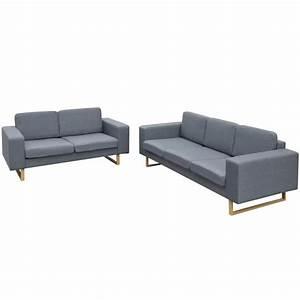 Sofa Mit Holzrahmen : vidaxl 2 sitzer und 3 sitzer sofa set hellgrau ~ Frokenaadalensverden.com Haus und Dekorationen