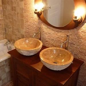 Lavabo En Pierre Naturelle : salle de bain en pierre sol mur vasque et meuble en bois ~ Premium-room.com Idées de Décoration