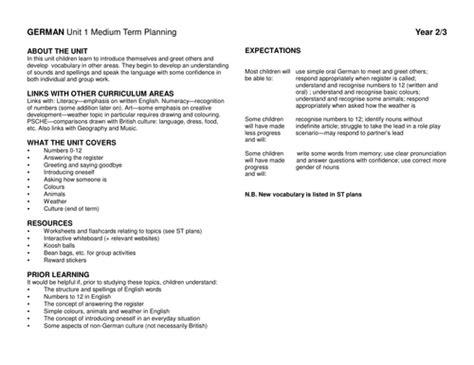 German Lesson Plans By Amazingteacher123  Teaching Resources Tes