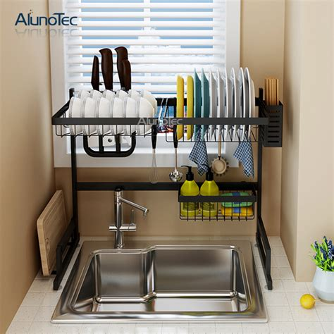 cm black standing kitchen stand hanger rack drying plate shelf stainless steel  tier dish
