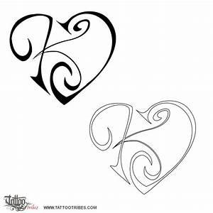 Tattoo of K+J heart, Union, affection tattoo - custom ...