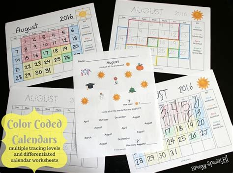 color coded calendar visual color coded calendars for students with special