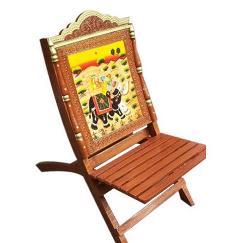 srs wood wooden rajasthani print chair rs piece
