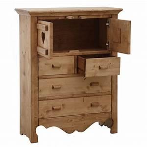 Commode En Bois Massif : meuble de montagne en bois massif cir miel commode en bois massif coeur boisnature 39 l ~ Teatrodelosmanantiales.com Idées de Décoration