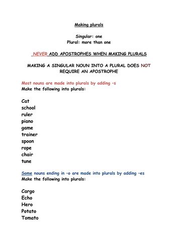 plurals spelling worksheet by rebeccahwilliams