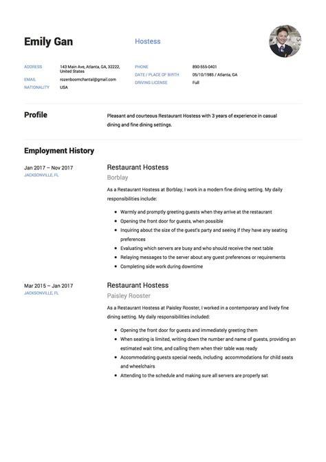 Hostess Description On Resume by Restaurant Hostess Resume 12 Sles Pdf Documents