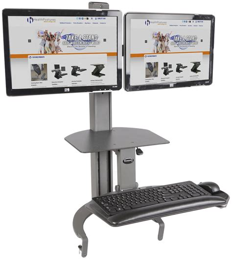 dual monitor standing desk attachment sit stand desk mount supports dual monitors