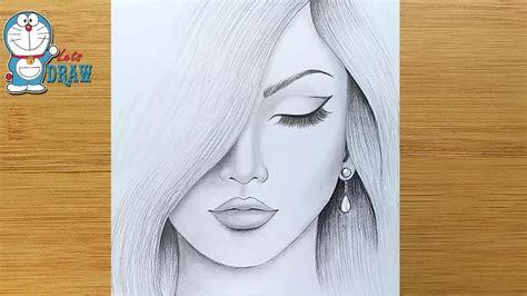 draw  girl step  step pencil sketch drawing