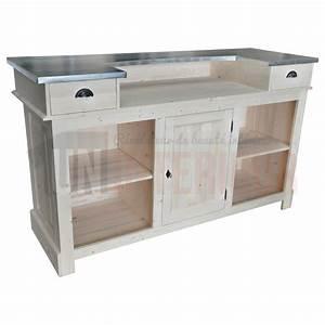 meuble comptoir bar 180cm pin zinc With comptoir des indes meubles