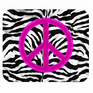 pink zebra peace sign Rectangular Mousepad