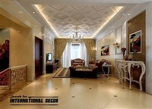 Decorative ceiling tiles with original designs and types for Interior ceiling design for living room