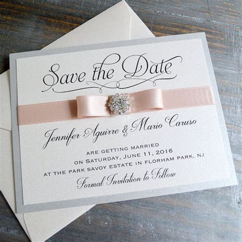 BOW Save The Date Silver and Blush Save the Date Card