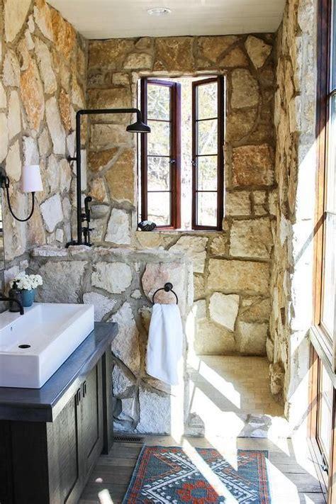 small rustic cottage bathroom features  vanity mirror