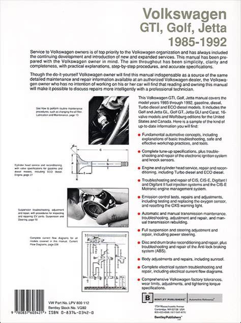 service and repair manuals 1985 volkswagen golf regenerative braking back cover vw volkswagen repair manual gti golf jetta 1985 1992 bentley publishers